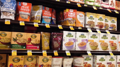 Healthy Cereals Shelves in Supermarket Stock Footage