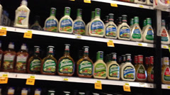 Salad Dressing Aisle In Supermarket Stock Footage