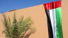UAE flag draped at house in Dubai in the United Arab Emirates in downtown U.A.E. Stock Footage
