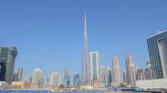Construction and new skyline of amazing Dubai UAE with the world's tallest Stock Footage