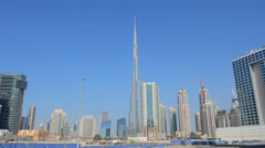 Construction and new skyline of amazing Dubai UAE with the world's tallest - stock footage