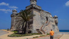 Cojimar Havana Cuba 17th Century Cojimar Fort built on water in bay in the - stock footage