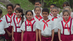 Elementary school students singing a loyalty song in Las Terrazas in Sierra del Stock Footage