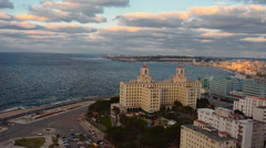 Havana Cuba view from above of entire city waterfront at sunset twilight of Stock Footage