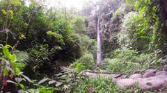 Ola Vida waterfall in Ecuadorian Amazonia, wide angle shot Stock Footage