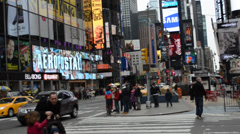 Stock Video Footage of Times Square. The advertizing center in New York. Shooting at the end of March.