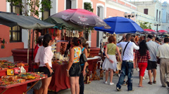 Cienfuegos Cuba souvenirs for sale in market for tourists in downtown area Stock Footage