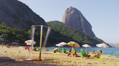 Static shot of people on a Rio beach. Stock Footage