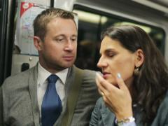 Couple talking and enjoying time together in the subway, steadycam shot Stock Footage