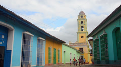 Trinidad Cuba old cobblestone street and beautiful church in city Stock Footage