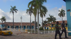 Trinidad Cuba main square in downtown center of old Colonial city Stock Footage