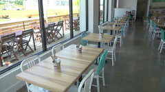 Interior new restaurant and large windows Stock Footage