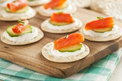 salmon and cracker hor d'oeuvres - stock photo