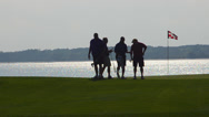 Stock Video Footage of Golfers on 18th Hole at exclusive Habour Town Golf Links in Hilton Head South