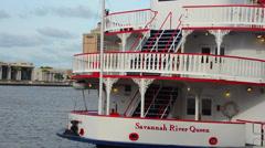 Savannah Georgia Southern city Savannah River Queen boat on Savannah River in Stock Footage