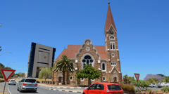 Windhoek Namibia Namibia famous historical Christ Church cathedral with new Stock Footage