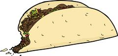 Taco with missing bite Stock Illustration