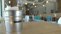 CU table setting new restaurant Stock Footage