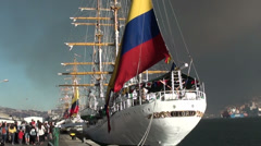 1341 Sailing ship with the flag of Ecuador Stock Footage