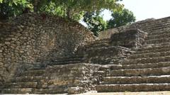 Chacchoben Mayan Ruins Gran Basamento Stairs Stock Footage