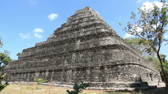 Chacchoben Mayan Ruins Templo 1 Pyramid 1 Stock Footage