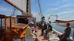 Schooner Heritage Windjammer Sailboat from Rockland Maine  passengers crewing Stock Footage