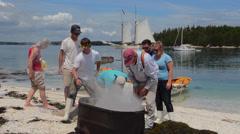 Schooner Heritage Windjammer Sailboat from Rockland Maine shore lobster bake on Stock Footage