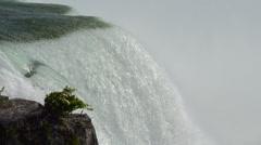 Niagara Falls New York closeup of the water over edge on the American Falls Stock Footage