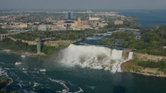 Niagara Falls New York and Maid of the Mist boat under the American and Bridal Stock Footage