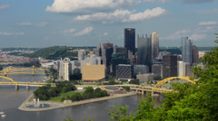 Pittsburgh Pennsylvania from Mt Washington hill looking at Golden Triangle and Stock Footage
