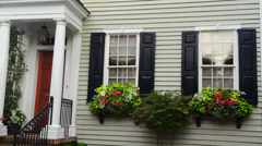 Charleston South Carolina Tradd Street old homes with color and flowers doorways Stock Footage