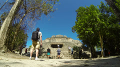 Chacchoben Mayan Ruins Tourists Time Lapse 1 Stock Footage