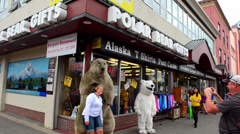 Anchorage Alaska capital city tourists on 4th Avenue and F Street with Polar Stock Footage