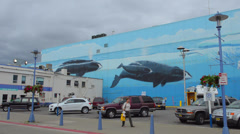Anchorage Alaska famous artist Wyland Whaling Wall art design mural on back of Stock Footage