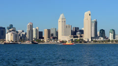 Stock Video Footage of City of San Diego California from Coronado in san Diego Bay of skyline and