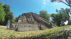 Chacchoben Mayan Ruins Tourists Time Lapse 2 Stock Footage
