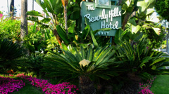 Beverly Hills California; CA famous Beverly Hills Hotel exclusive hotel for the Stock Footage
