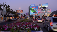 Hollywood Beverly Hills California CA  famous Sunset Blvd traffic at night Stock Footage