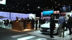 Volvo booth at the New York International Auto Show Stock Footage