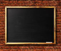 blank chalkboard in wooden frame - stock photo