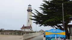 Pigeon Point Light Station on Pacific Coast Highway near Half Moon Bay in Stock Footage