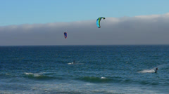 Santa Cruz California Kite surfing in Big Basin Redwoods State Park above Santa Stock Footage