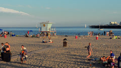 Santa Cruz California CA Wharf and beach on waterfront with sand and tourists Stock Footage