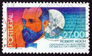 Stock Photo of Postage stamp Portugal 1987 Robert Koch
