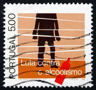 Postage stamp Portugal 1977 Alcoholic and Bottle - stock photo