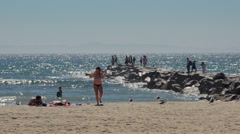 Newport Beach California CA  beach with tourists and ocean near 28th Street Stock Footage