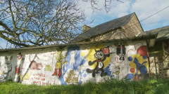 Graffiti in the countryside - dolly Stock Footage