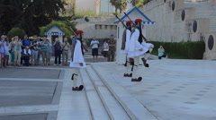 Athens Greece Changing of the Guard at Parliament and unknown soldier grave with Stock Footage