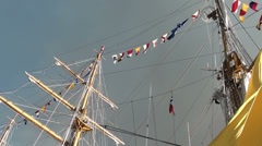1344  The mainmast with colorful flags Stock Footage