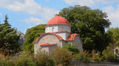 Greece Zemeno village 20th Century Church called St Aghanassios Church of stone Stock Footage